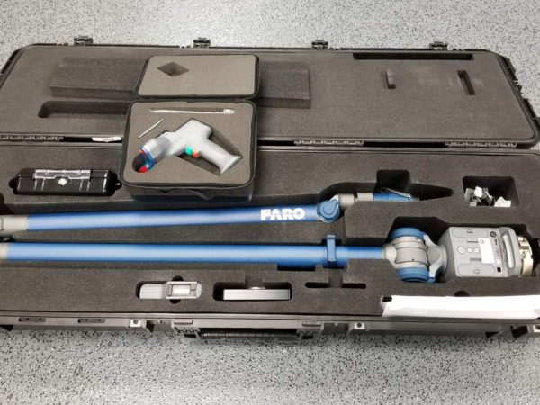 A portable Faro arm and scanner for on-site dimensional analysis