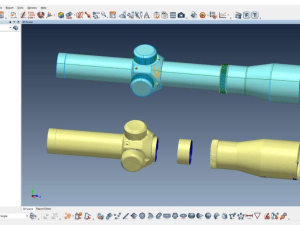 A usable 3D CAD model is being created from a 3D scan