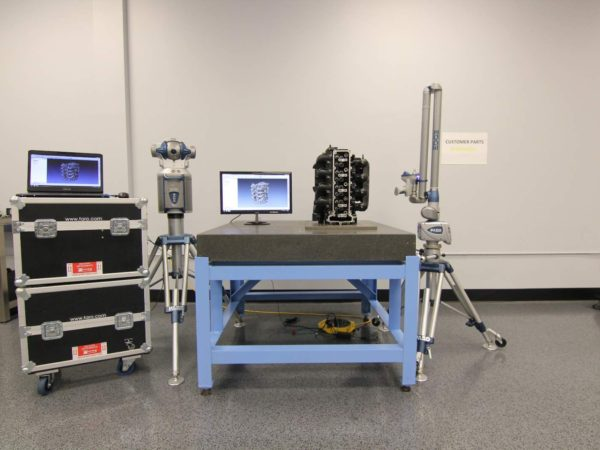 Carolina Metrology using portable metrology equipment to inspect an engine block